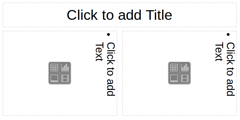 LibreOffice Impress slide with Horizontal Title and two Content boxes