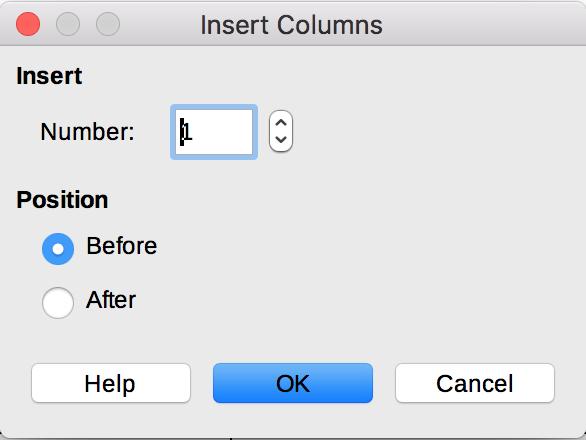 Insert Columns dialog