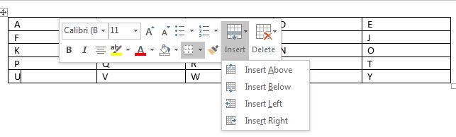 Insert menu in Context menu of Word 2016
