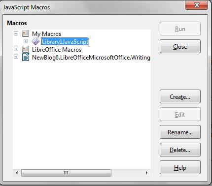 JavaScript macro dialog