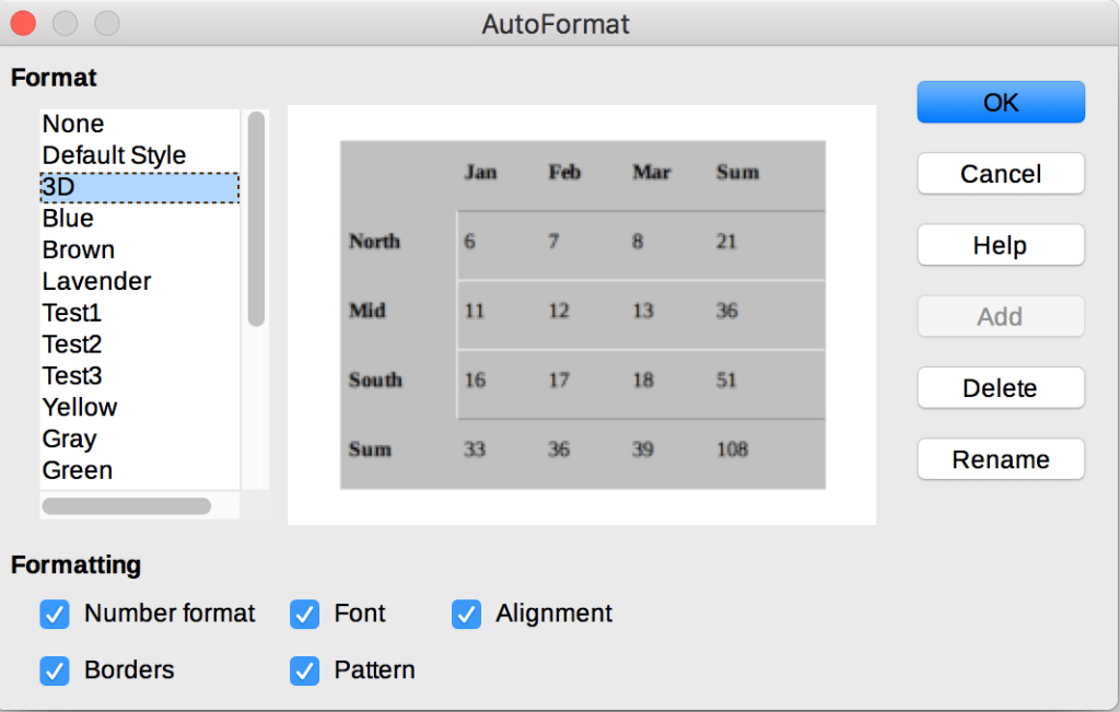 AutoFormat dialog in LibreOffice