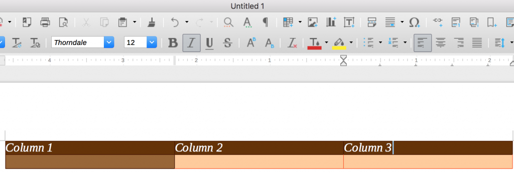 Example of a table in LibreOffice