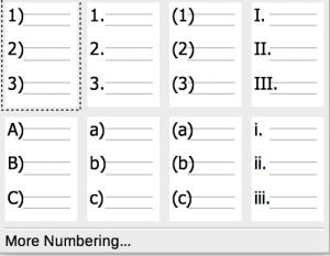 Numbering drop-down list in Formatting toolbar in LibreOffice Writer