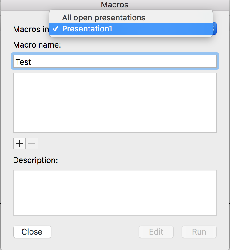 PowerPoint for Mac macro dialog