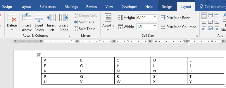 Rows and Columns section in Layout ribbon of Word 2016 for Windows