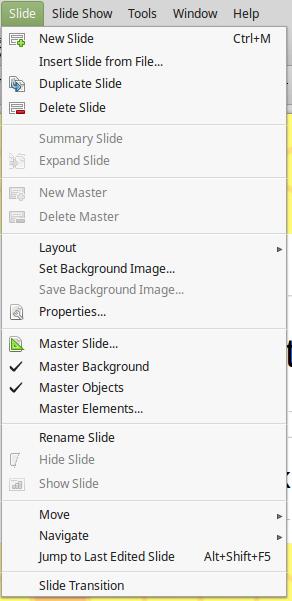 Slide menu in LibreOffice Impress