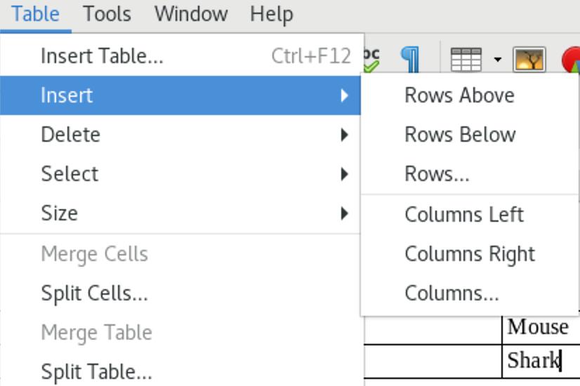 Insert sub-menu in Table menu
