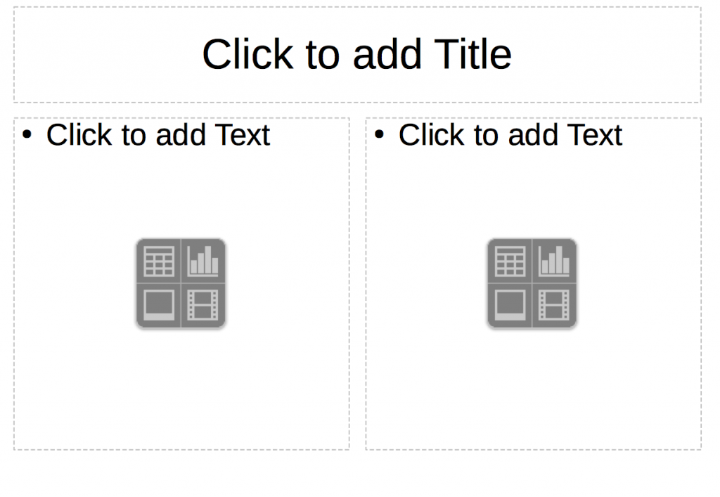 Slide with a Title text box and two content boxes in LibreOffice Impress