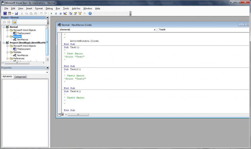 Visual Basic for Applications interface