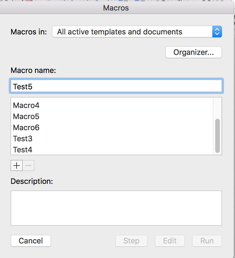Word for Mac macro dialog