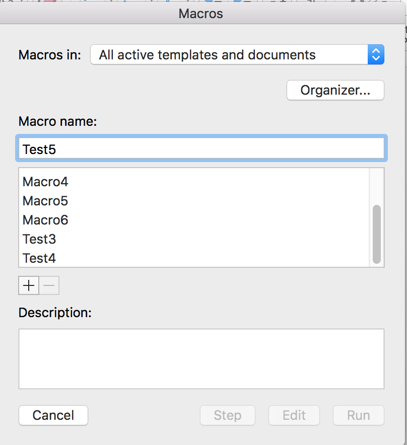 Word for Mac macro dialog