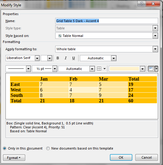 Modify Style dialog in Word 2016