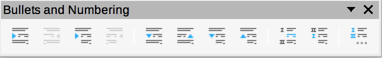 Bullets and Numbering toolbar