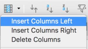 Insert columns in Standard toolbar in LibreOffice Calc
