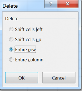 Delete dialog in Excel