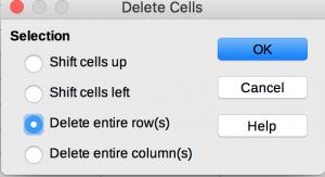 Delete dialog in LibreOffice Calc