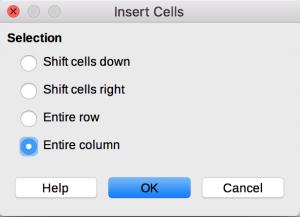 Insert dialog in LibreOffice Calc