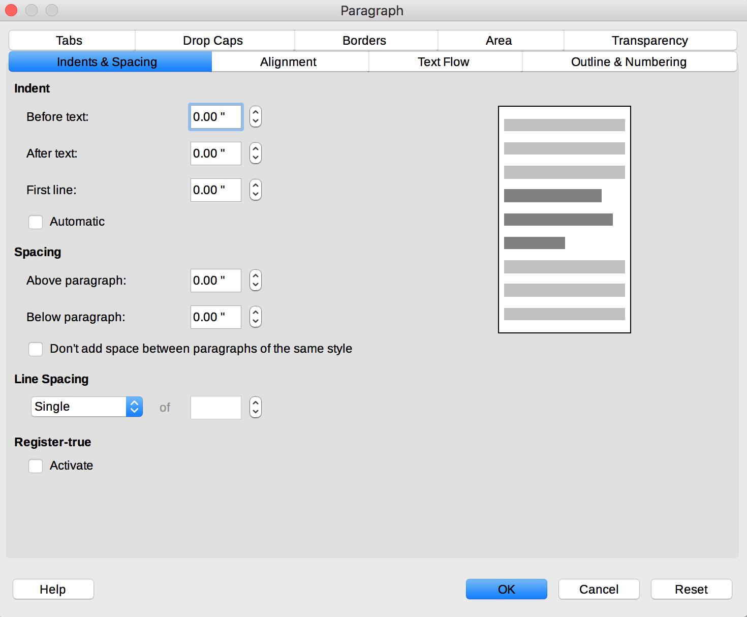 Paragraph dialog in LibreOffice Writer