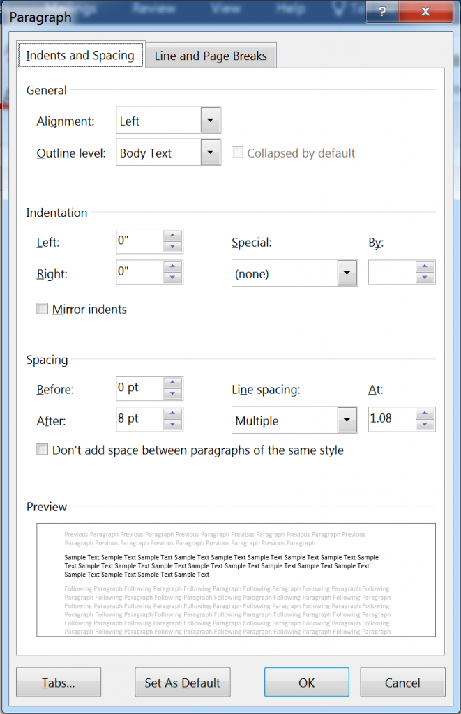 Paragraph dialog in Word 2016