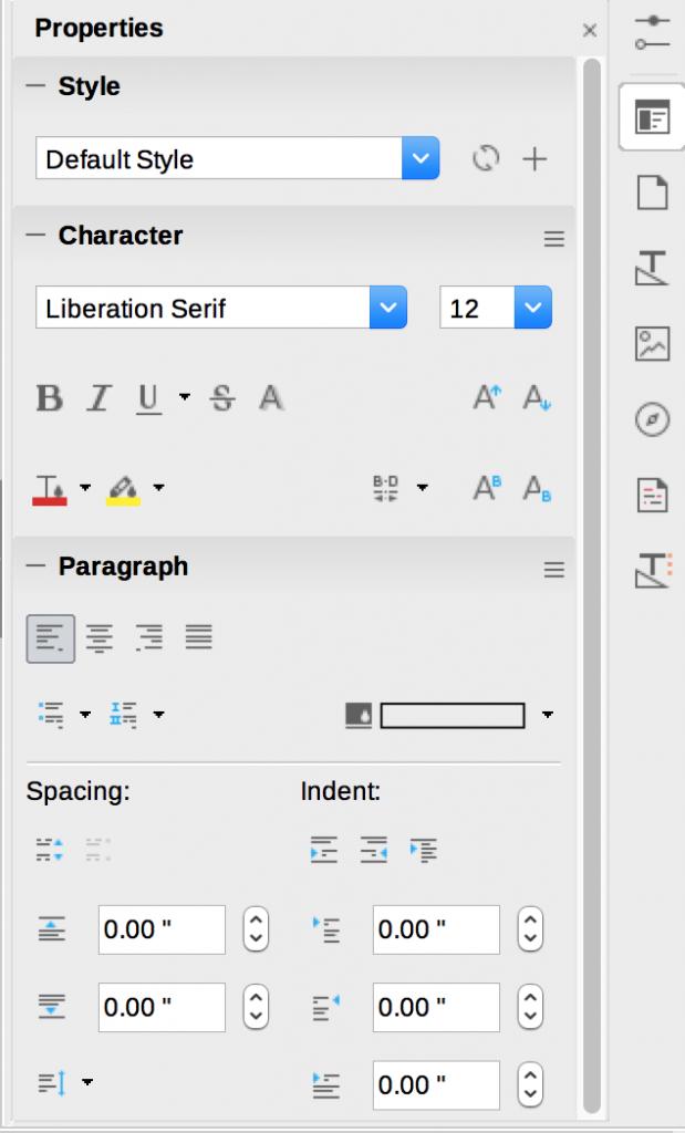 Sidebar in LibreOffice Writer