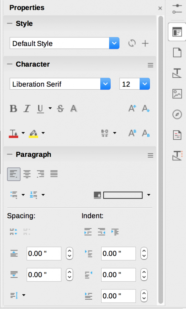 Sidebar in LibreOffice Writer