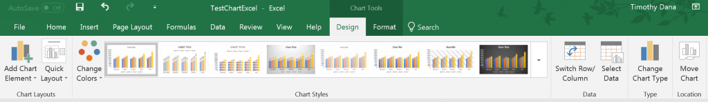 Chart Tools ribbons in Excel for Windows