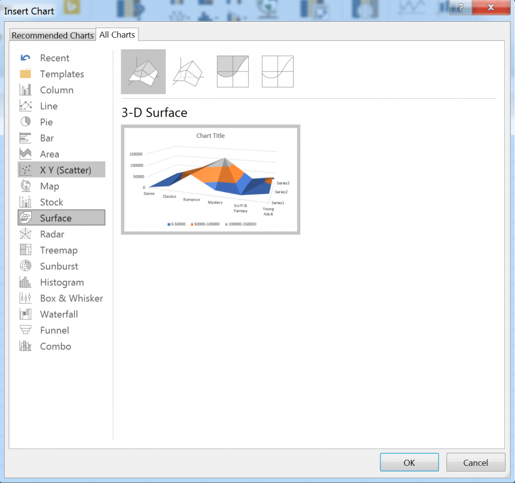 Insert chart dialog for Excel for Windows
