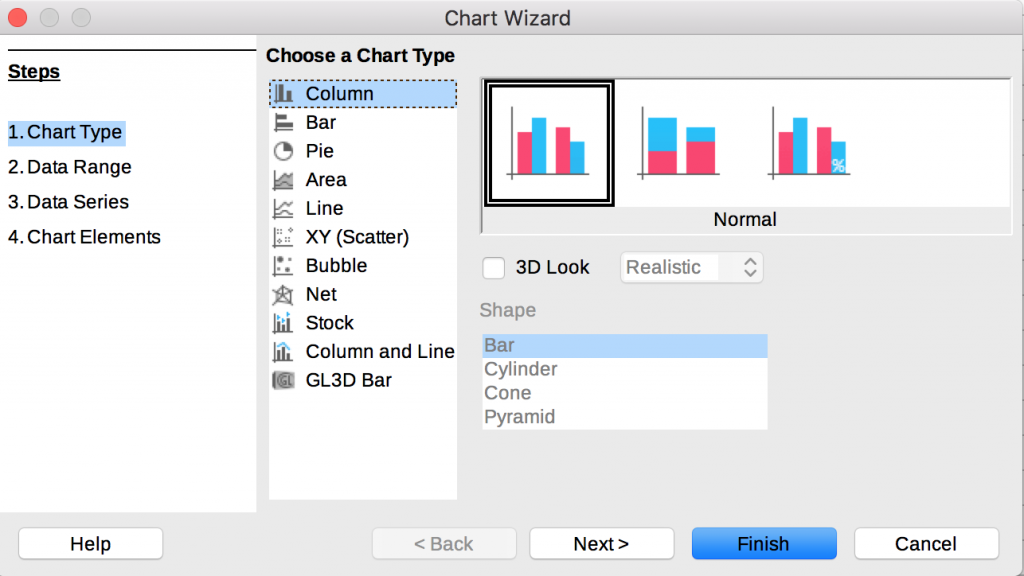 Chart Wizard in LibreOffice Calc