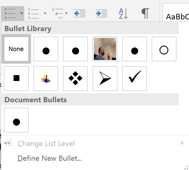 Bullet Gallery in Microsoft Word for Windows