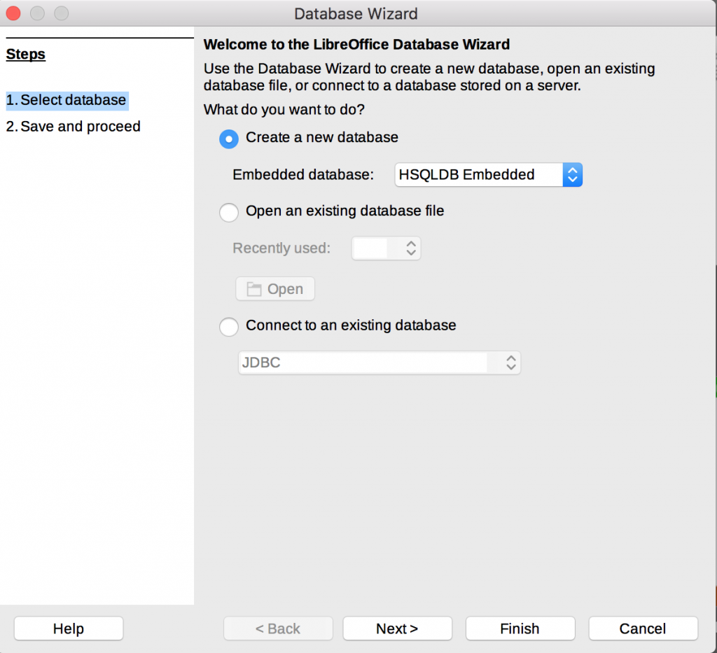 Database Wizard in Mac