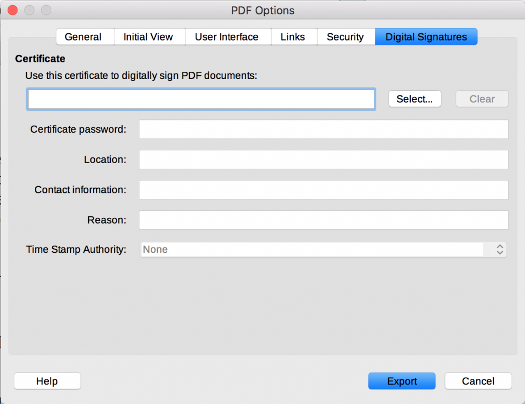 Digital Signatures tab in LibreOffice PDF Options dialog