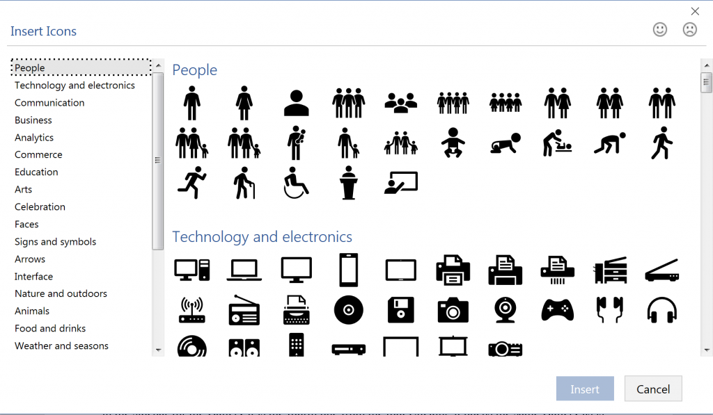 Icons dialog Microsoft Office