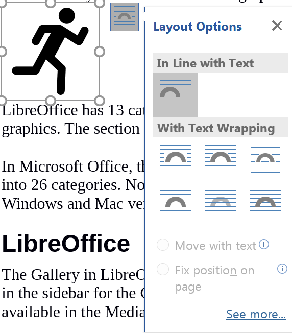 Microsoft Office graphics layout