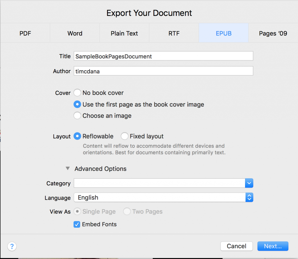 EPUB dialog in Pages