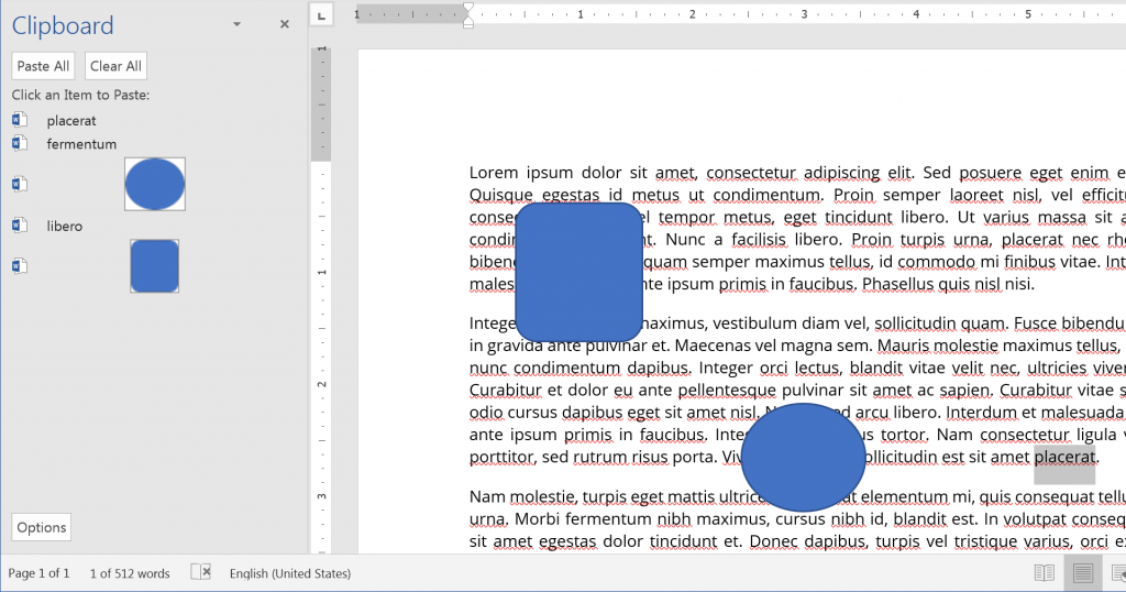Clipboard in Microsoft Word 2016