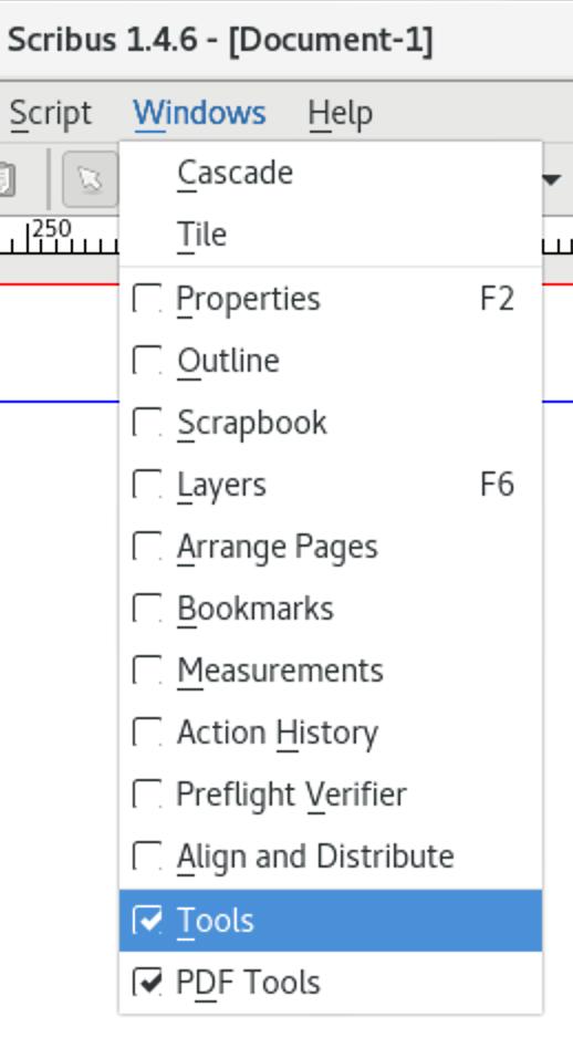 Toolbar items in Windows menu of Scribus