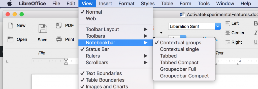 Notebookbar in the View menu of LibreOffice.