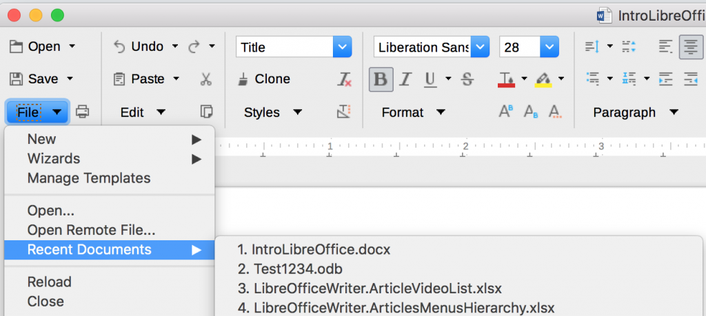 The Recent Documents list in the Groupedbar Full user interface in LibreOffice applications.