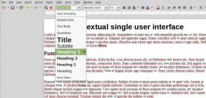 Set Paragraph Style menu in LibreOffice Contextual single user interface