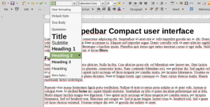 Set Paragraph Style menu in LibreOffice Groupedbar Compact user interface