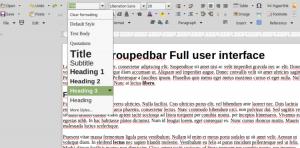 Set Paragraph Style menu in LibreOffice Groupedbar Full user interface