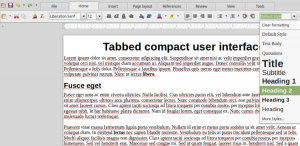 Set Paragraph Style menu in LibreOffice Tabbed Compact user interface
