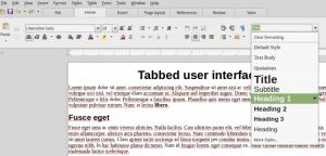 Set Paragraph Style menu in LibreOffice Tabbed user interface