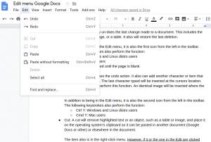 Edit menu - Google Docs